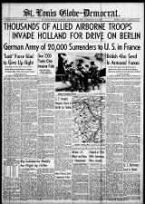 American front page news coverage of the first day of Operation Market Garden