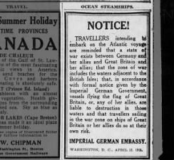 Warning from Germans about traveling on British and Allied ships prior to sinking of Lusitania