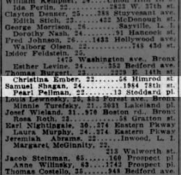 Samuel Shagan & Pearl Pellman marriage license, Brooklyn Daily Eagle 05 Jun 1924 p33