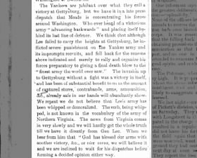 North Carolina newspaper is skeptical of word of Union victory at Gettysburg