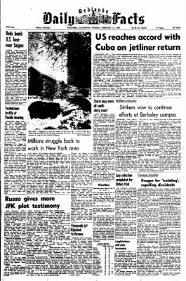 Redlands Daily Facts from Redlands, California on February 11, 1969 · Page 1