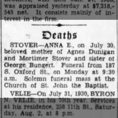 Anna E Bungert Stover- Obit Brklyn Daily Eagle Aug 1.1930