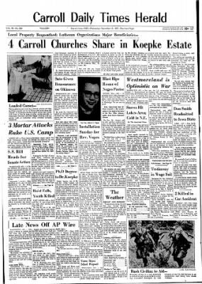 Carrol Daily Times Herald from Carroll, Iowa on November 15, 1967 · Page 1