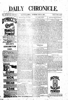 The Daily Chronicle from Centralia, Washington on June 11, 1891 · Page 1