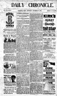 The Daily Chronicle from Centralia, Washington on November 17, 1892 · Page 1