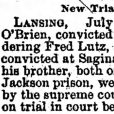 dAILY Chronicle (Centralia, Washington , 27 July 1893 page one - LANSING, July O'Brien, convicted murdering Fred...