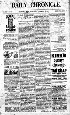 The Daily Chronicle from Centralia, Washington on December 14, 1892 · Page 1