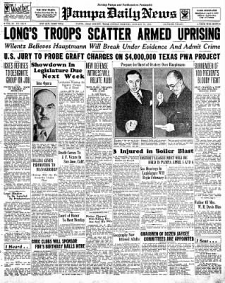 Pampa Daily News from Pampa, Texas on January 27, 1935 · Page 1