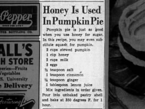 1942 recipe for pumpkin pie with honey instead of sugar