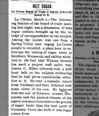 1897: Board of Trade Shows Interest in Beet Sugar
