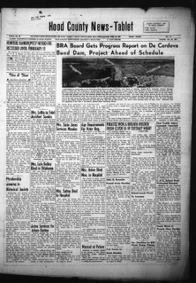 Hood County News Tablet From Granbury Texas On January 26 1967