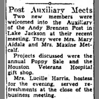 Grandma Allie Lucille Harris - Post Auxiliary Meets Two new members were...