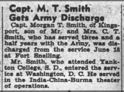 Capt M T Smith Gets Army Discharge