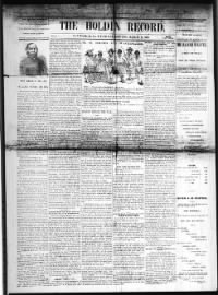 Sample The Holden Record front page
