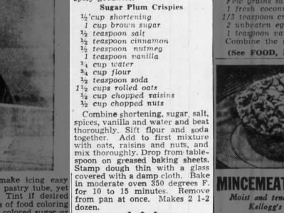1949: Sugar Plum Crispies recipes