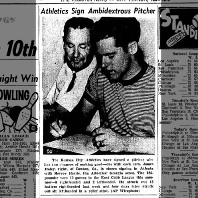 Athletics Sign Ambidextrous Pitcher in 1963