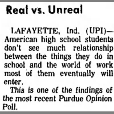 """""""When am I going to use this in real life?"""" - Real vs. Unreal LAFAYETTE, Ind. (UPI)American..."""