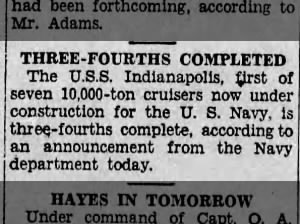 USS Indianapolis construction nears completion in November of 1931
