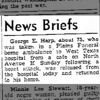 George E. Harp released from the hospital. -