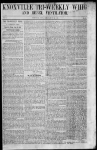 Sample Brownlow's Tri-Weekly Whig front page