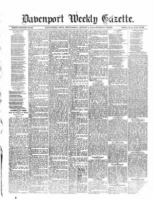 The Davenport Weekly Gazette from Davenport, Iowa on August 8, 1883 · Page 1