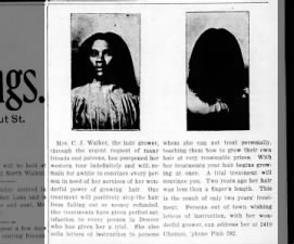Early ad by Madam C.J. Walker for hair growing treatment in Denver newspaper, 1906