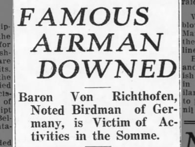 "Clip of the Day: Report of the death of the ""Red Baron"""