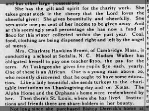 Excerpt from an article about Madam C.J. Walker's philanthropy, 1915
