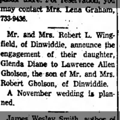 Lawrence Allen Gholson engagement 16 Oct 1968 -