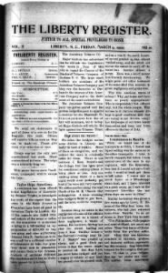 Sample The Liberty Register front page