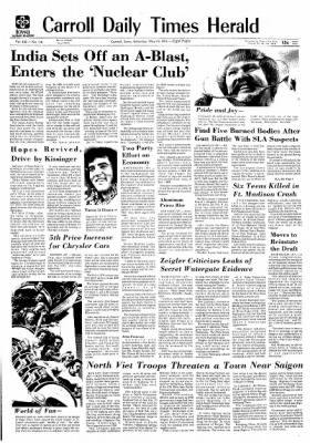 Carrol Daily Times Herald from Carroll, Iowa on May 18, 1974 · Page 1