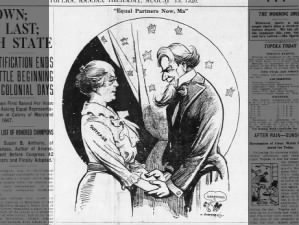 Pro-suffrage editorial cartoon published following the ratification of the 19th Amendment