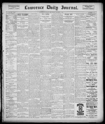 Lawrence Daily Journal from Lawrence, Kansas on October 23, 1890 · Page 1