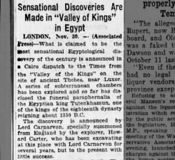 News of the discovery of King Tut's tomb