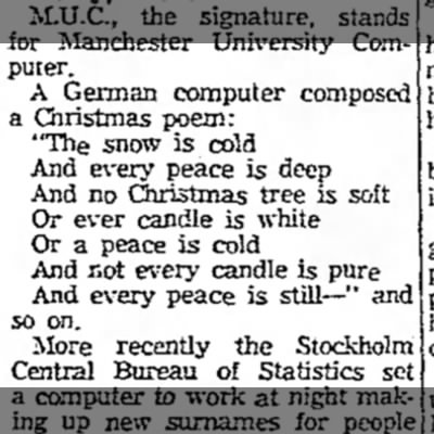 Christmas Poem Composed by Computer - Computer. A German computer composed a...