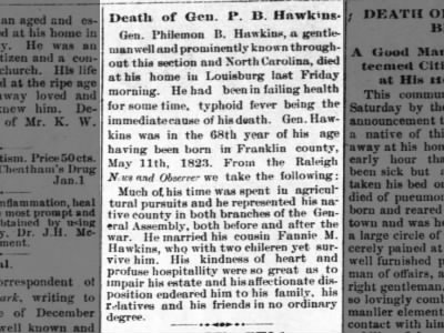Death of PB Hawkins