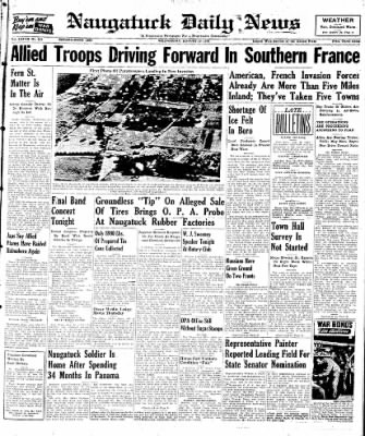 Naugatuck Daily News from Naugatuck, Connecticut on August 16, 1944 · Page 1