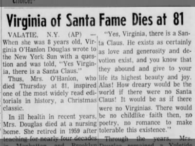 """Clip of the Day: """"Yes, Virginia"""" Letter Recipient Dies"""