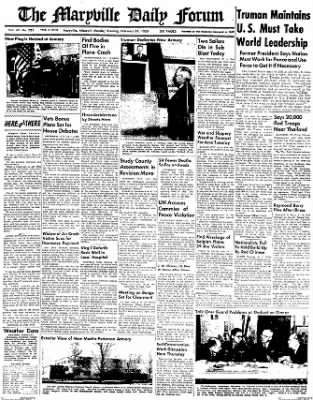 The Maryville Daily Forum from Maryville, Missouri on February 21, 1955 · Page 1