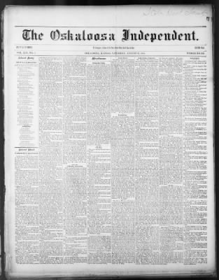 The Oskaloosa Independent from Oskaloosa, Kansas on August 31, 1878 · Page 1