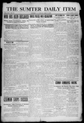 The Item from Sumter, South Carolina on April 6, 1917 · 1