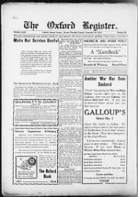 Sample Oxford Register front page