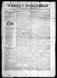 Sample Weekly Chronicle and Farmer's Register front page