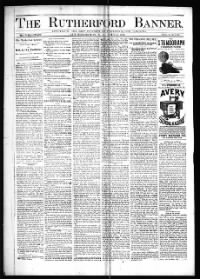 Sample The Rutherford Banner front page