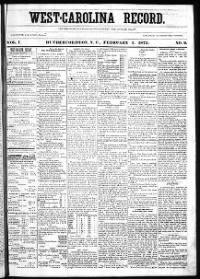 Sample West-Carolina Record front page