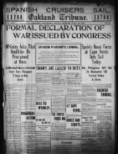 U.S. Congress formally declares war on Spain on April 25, 1898