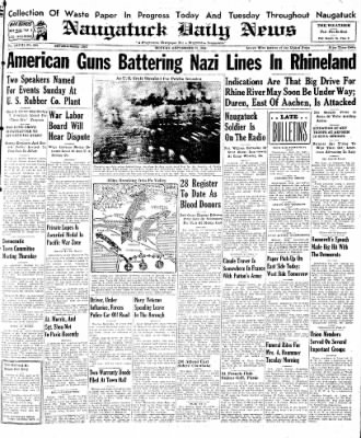 Naugatuck Daily News from Naugatuck, Connecticut on September 25, 1944 · Page 1
