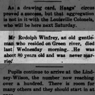 Death of Rudolph Winfrey, bachelor, The Adair County News, 23 Sep 1908, page 1