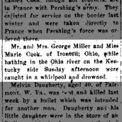 The Messenger (Beckley,WV)  07 Aug 1917 - ! Mr. and Mrs. George Miller and Miss ; Marie...