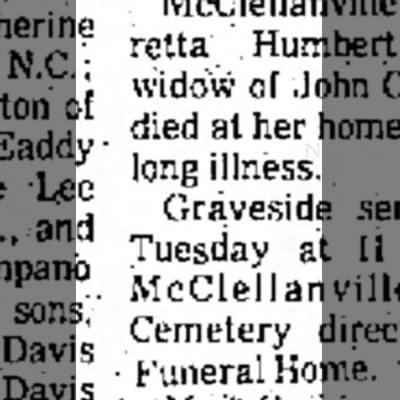 Florence Morning News(Florence,South Carolina)9 Sept 1974 - of and Davis Davis Loretta widow of died at...